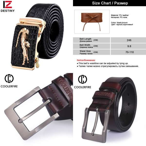 TOGIC Fashion Leather Belt For Men Genuine Leather Pin Buckle 2 color Black Coffee