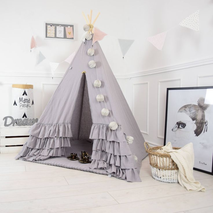 Boho Teepee Tent, Linen, Childrens Teepee, Play Tent, Linen Gray Teepee, Teepee Tent, Nursery Tent, Kids Furniture, Teepee, Ruffle Teepee by MamaPotrafi on Etsy