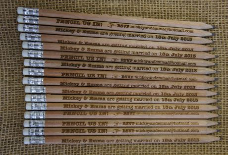 Wooden Engraved Pencils as Pencil Us In - Save the Dates