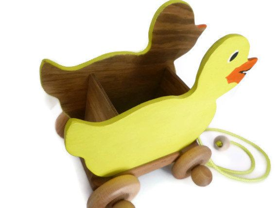 Wood Wagon / Rubber Ducky Pull Toy (GrampsWoodToys on Etsy)