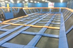 This is an indoor trampoline park (called Sky Zone) for adults and kids--it is about to open in the north Atlanta area  An excuse to be a kid again!  :)