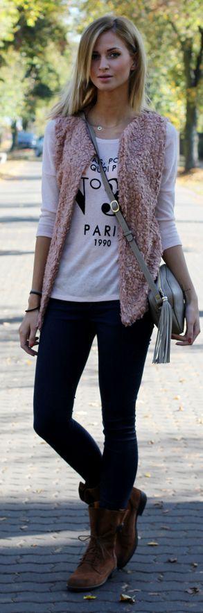 Dusty Pink Faux Fur Vest by Beauty - Fashion - Shopping