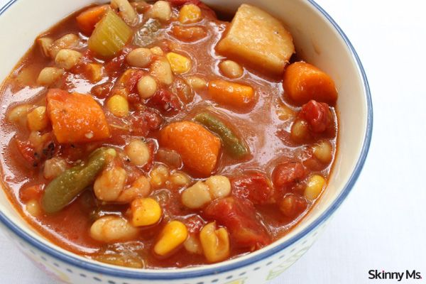 Slow Cooker Chunky Bean & Vegetable Soup is a super hearty vegetarian meal!