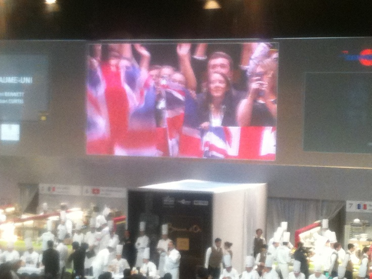 English crowd going mad for Chef Adam Bennett at Bocuse d'Or 2013.