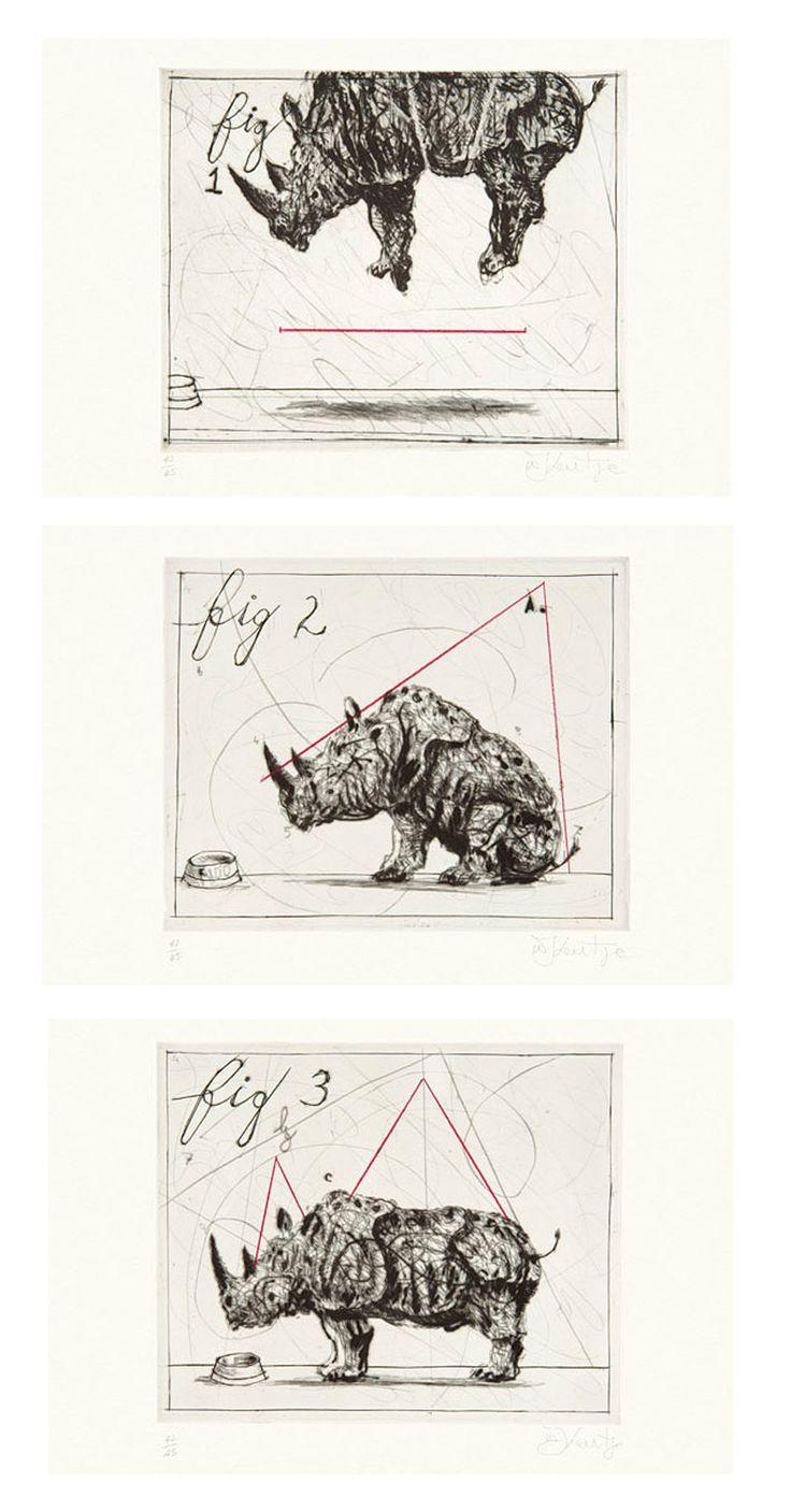 Three Rhinos by William Kentridge
