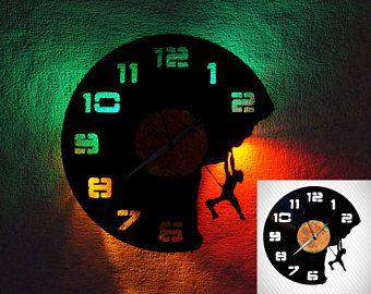 Climber Wall clock LED, Rock climbing vinyl record clock, Mountaineering record clock, LP clock, LED backlight, modern clock