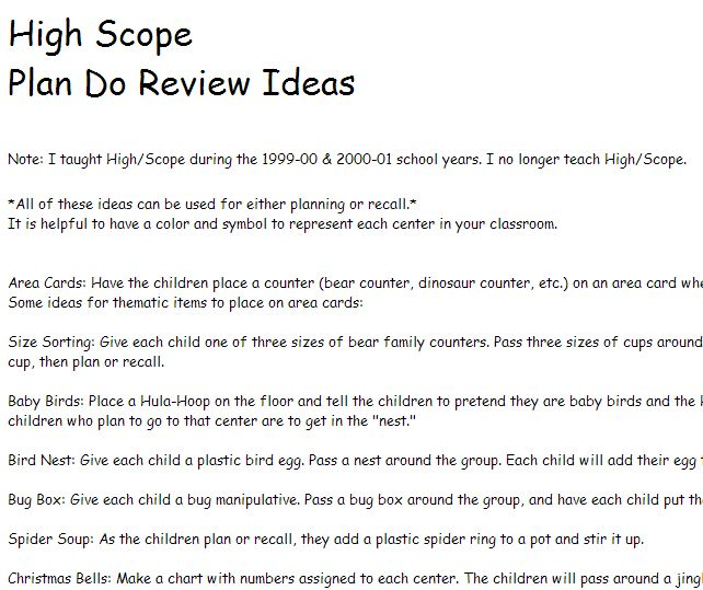 High Scope Plan Do Review Ideas from prekinders.com