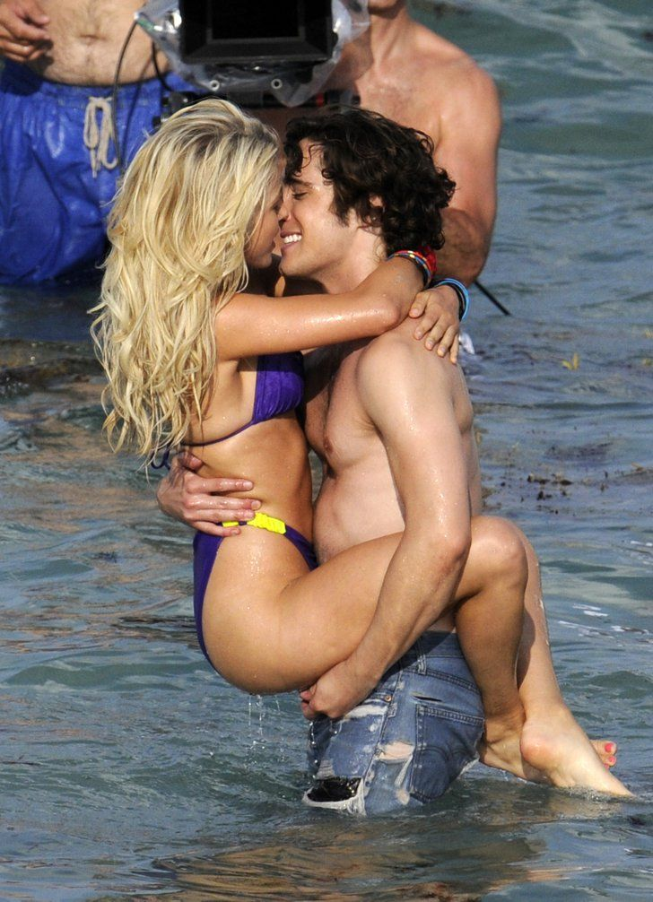 Pin for Later: You'll Need to Cool Off After Seeing These Sexy Celebrity Beach PDA Pictures  Julianne Hough and Diego Boneta were all over each other while filming Rock of Ages in Florida back in May 2011.