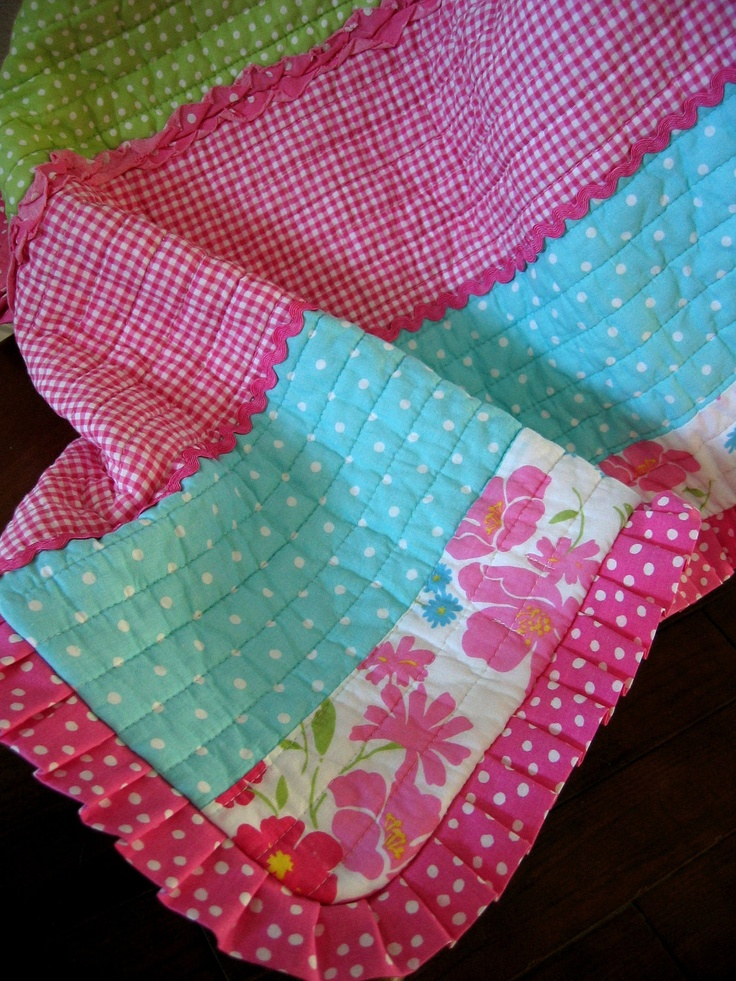 Baby Girl Quilt Hot Pink Aqua Lime Green Baby Shower Gift. $82.50, via Etsy.