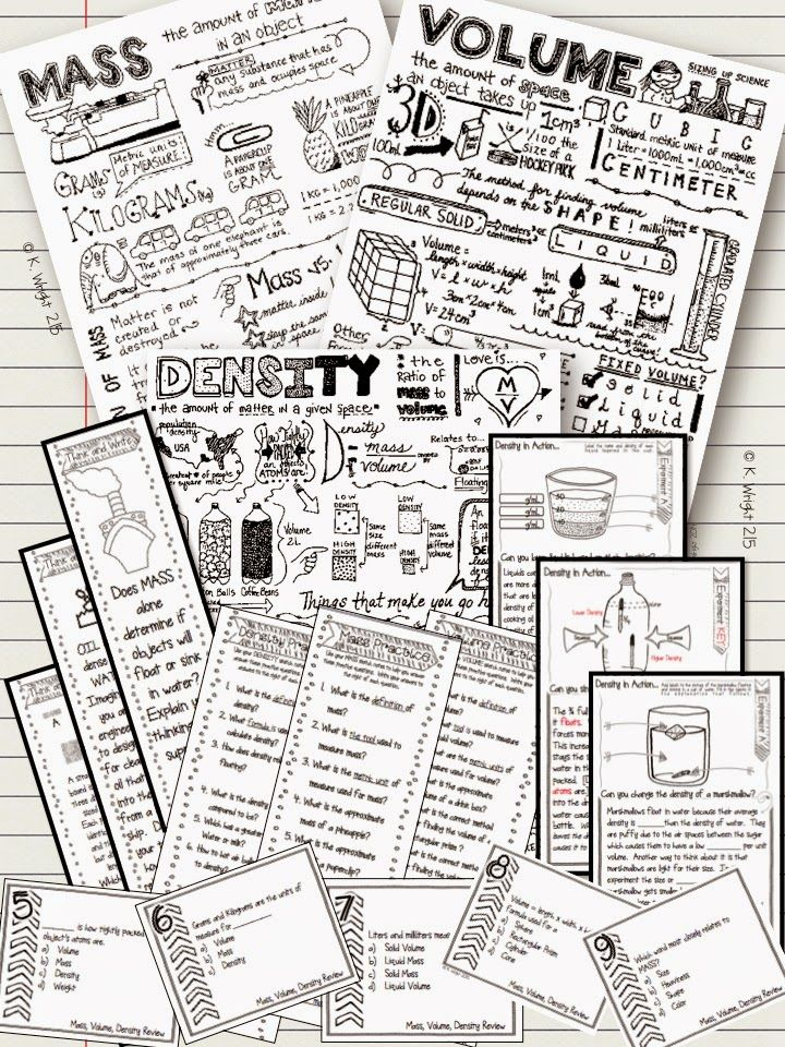 Science doodle notes (sketch or visual notes) to support teaching mass, volume and density.  Encourage cross-lateral brain activity, reduce student anxiety and improve memory with these fun doodle/sketch note sheets! Kate's Classroom Cafe