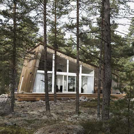 Stockholm architects Mats Edlund, Henrietta Palmer and Matts Ingman have designed this timber cabin as part of a camping site in Hudiksvall, Sweden.