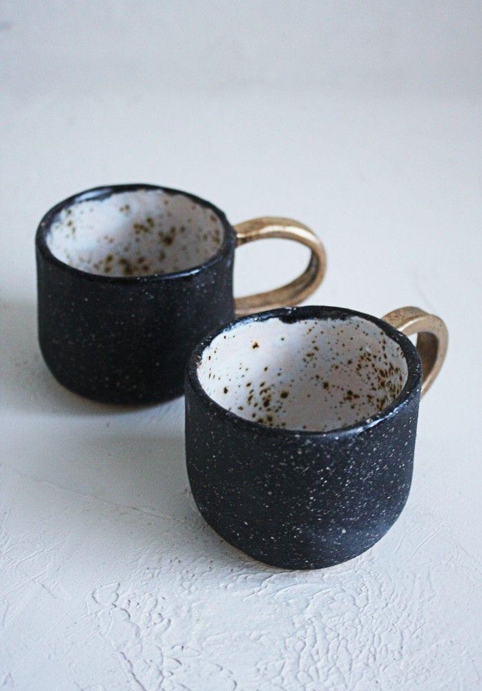 Кружки с золотым вкраплением (для эспрессо)  handmade handmadeceramics ceramics pottery