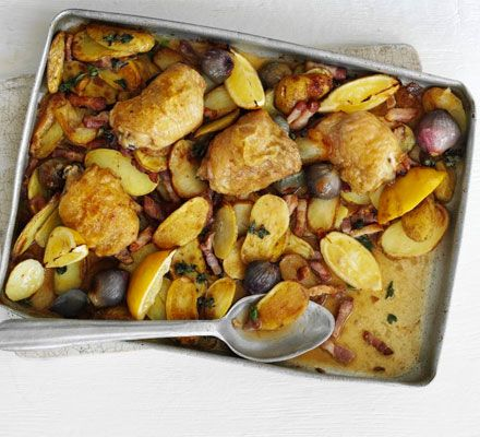 An all-in-one supper of roast, cheap chicken thighs and crispy new potatoes with all the sunshine flavours of the Med