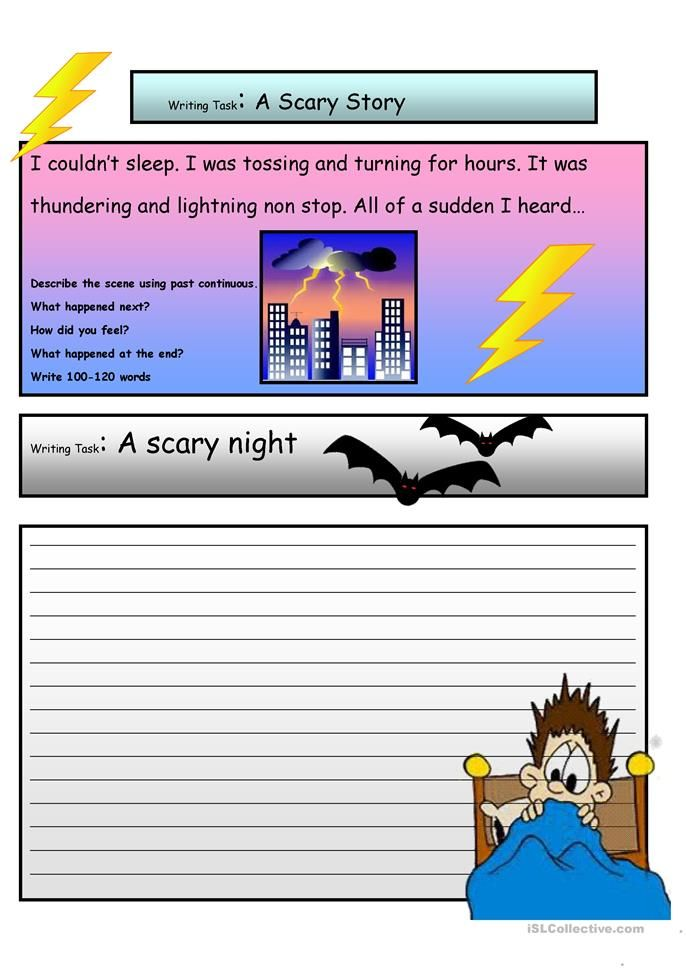 creative writing a scary story 3 a2 level worksheet