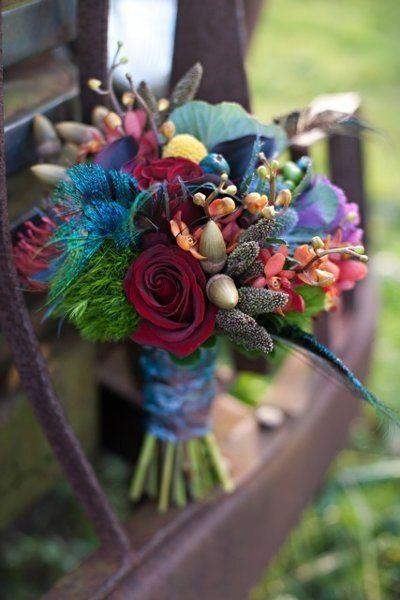 deep magenta, navy, and aqua wedding colors