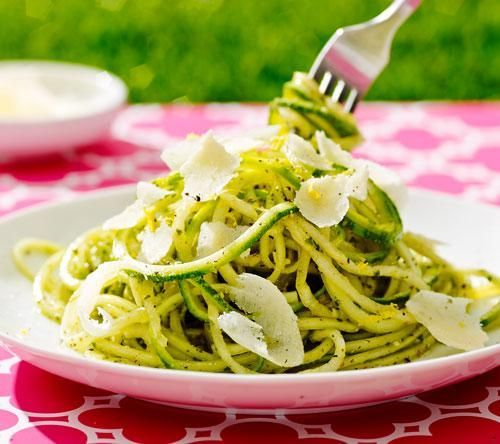 This recipe uses fresh, uncooked zucchini (yellow squash works just as well) to hold the delicious flavor of basil and garlic, and you seriously won't even miss the carbs.