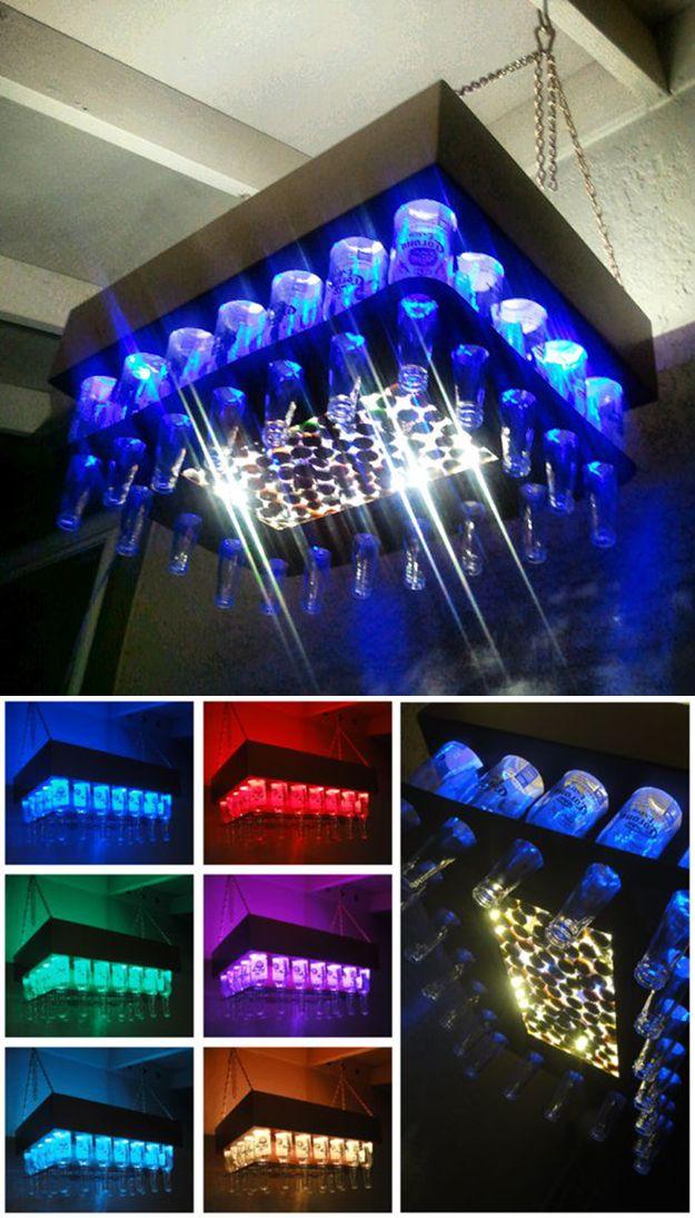 Aluminum Copper Colored Beer Bottle LED Light Chandelier - 24 Creative Uses for Beer Bottles