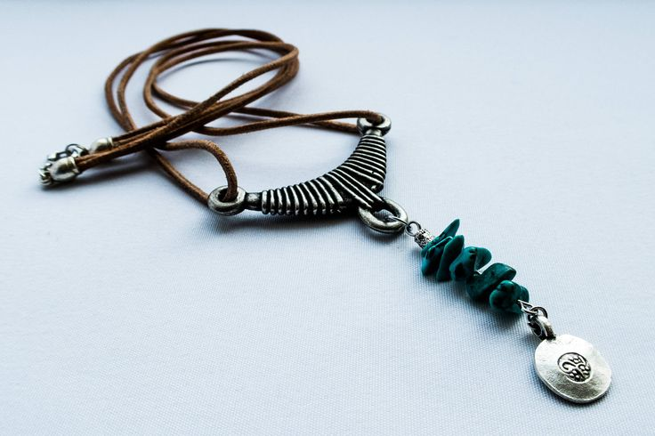 Boho necklace with antique metal and turquoise elements by cementary on Etsy