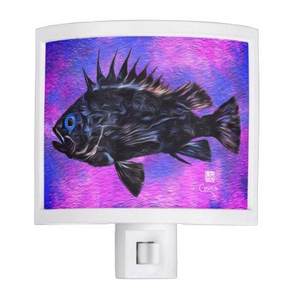 Quillback Rockfish On Purple - Night Light - black gifts unique cool diy customize personalize