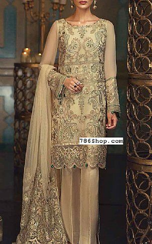 978daf3aa1 Light Golden Chiffon Suit | Buy Jazmin Pakistani Dresses and Clothing  online in USA, UK