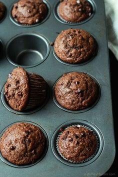 No Sugar, crazy moist, loads of chocolate flavor with great banana taste. These Skinny Double Chocolate Banana Muffins are the muffins of your dreams! | joyfulhealthyeats.com #recipes Easy Healthy Recipes