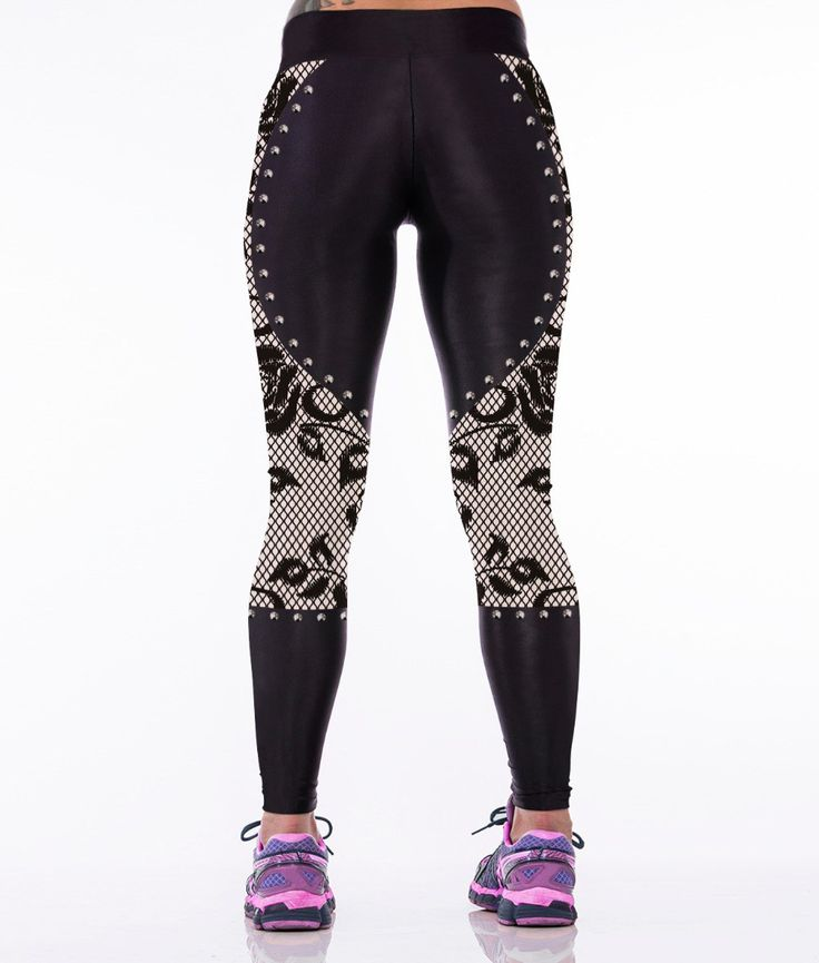 Floral Beige, Fitness Leggings