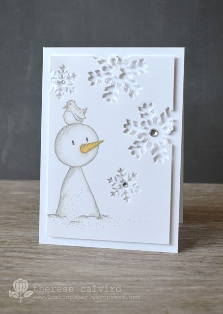 Lostinpaper - Gorjuss Snowman die cut snow flake Christmas card