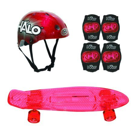 Halo Skateboard Combo - Red Skateboard + Helmet And Pads