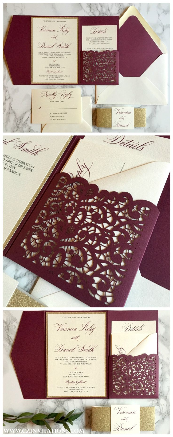 We love this Lace Laser cut design on the burgundy pocket! Such an elegant wedding invitation that is available in 80 colors!