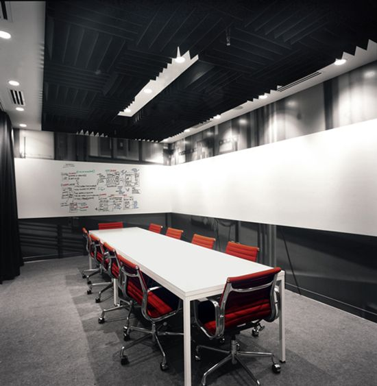 Whiteboard band around room - might be good with glass above and below it in a conference room that was essentailly freestanding.