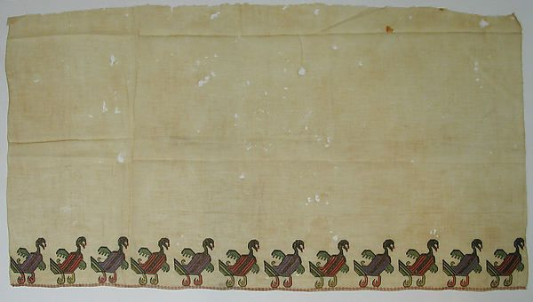 Fragment of Scarf or Cover Object Name: Fragment Date: 15th century Geography: Egypt Culture: Islamic Medium: Linen, embroidered in silk and metal thread Dimensions: H. 19 1/4 in. (48.9 cm) W. 35 3/4 in. (90.8 cm) Classification: Textiles-Embroidered