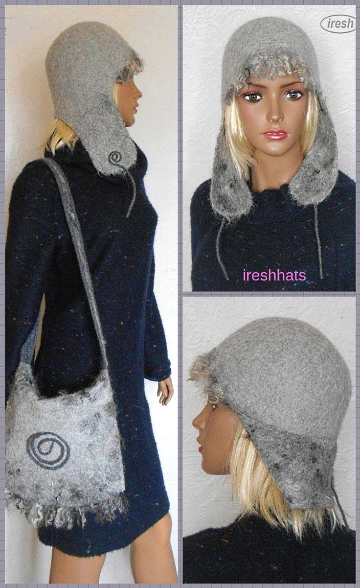 Hat and handbag, Women's Trapper Hats, Gray felt hat, Gray handbag | Etsy – Felted hats