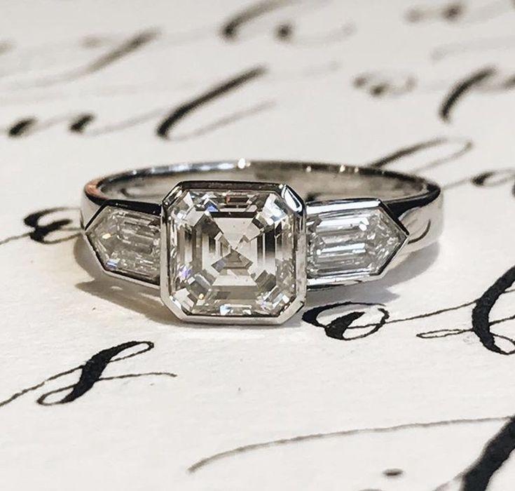Bespoke Asscher cut and bullet shaped diamond ring