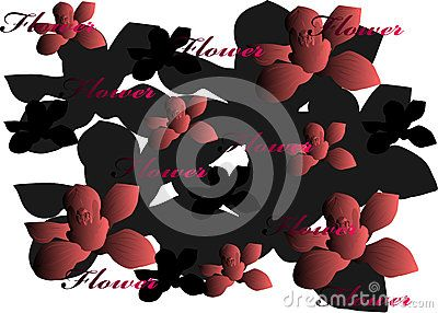 Vector orchid flower pattern, gradient and flower inscription.
