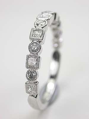 Wedding Ring with Round and Princess Cut Diamonds