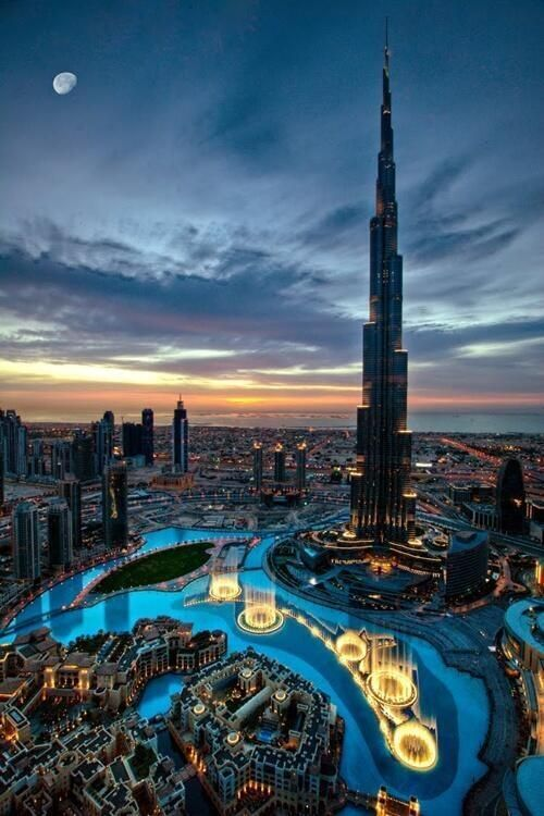 The magical city of Dubai with the Burj Khalifa in the background.