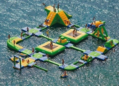 Or maybe this should be our new float.  Reminds me of the Swiss Family Robinson house out on the main lake! : ): Water Toys, Playground, Lakes House, Water Fun, Obstacle Courses, Summer Fun, Water Parks, Summerfun, Kid
