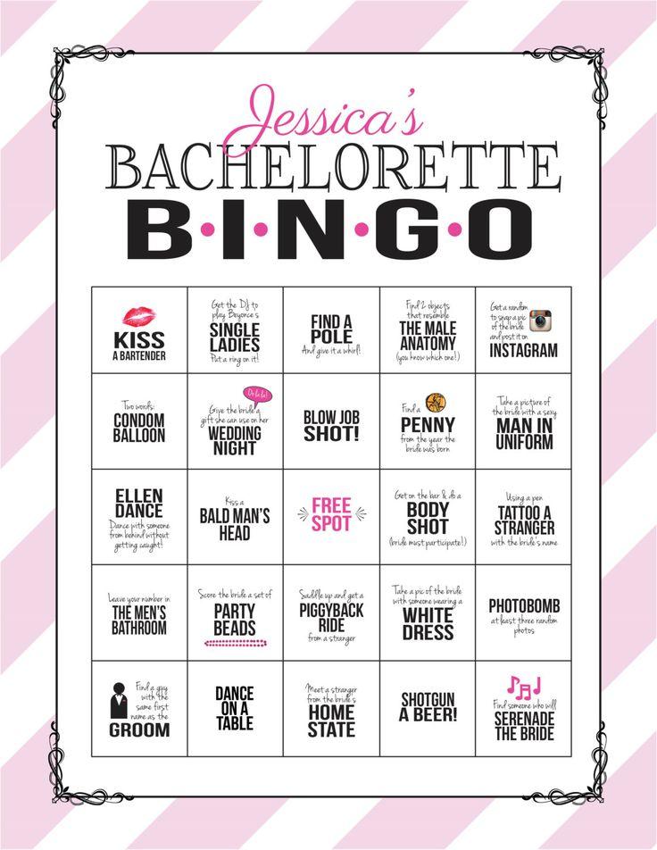 Bachelorette Party spel: Bingo durven blad door SweetBeeShoppe