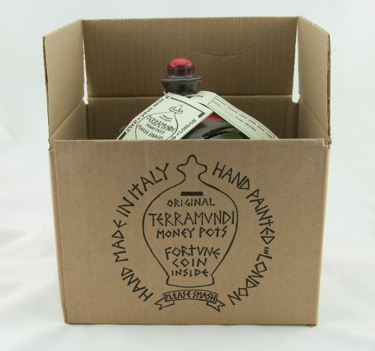 """Terramundi Money Pots come boxed, complete with """"date and desire"""" card."""