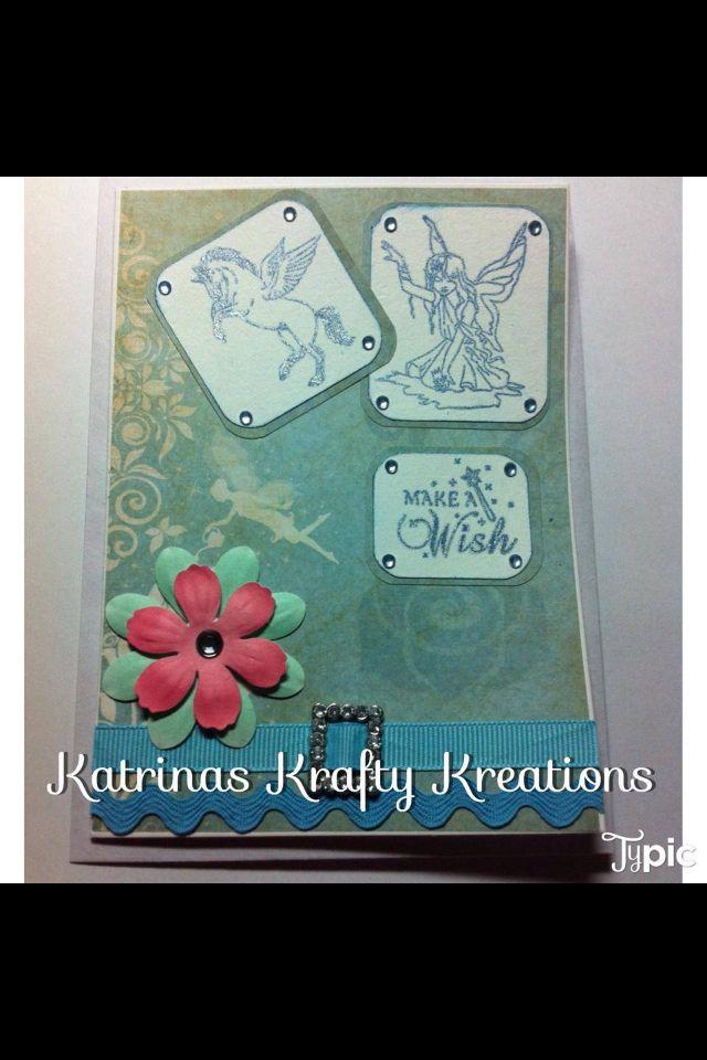 Fairy tale birthday card blue