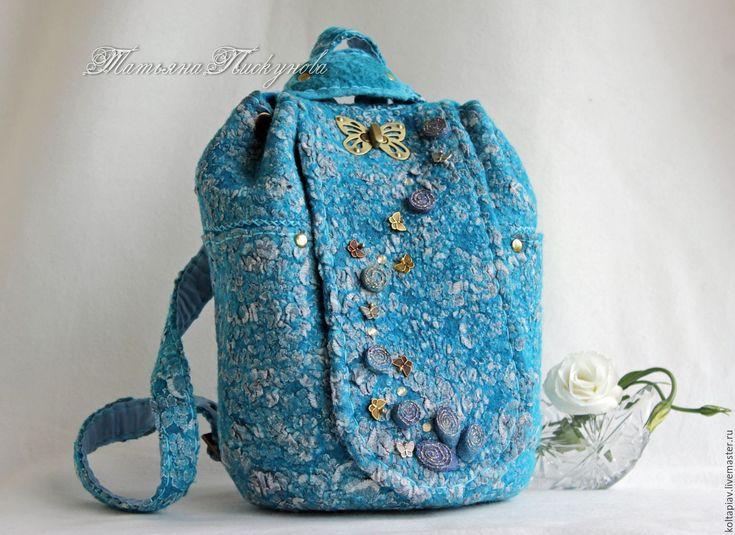 """Купить Сумка-рюкзак """"Весеннее небо"""" - бирюзовый, абстрактный, рюкзак ручной работы, рюкзак женский"""