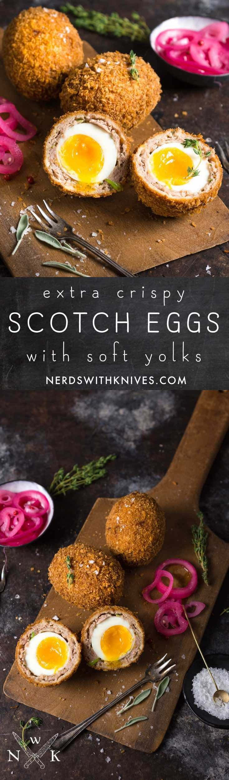 A perfect Scotch Egg has a crisp golden shell, flavorful sausage and most importantly, a soft-boiled, runny-yolked egg.