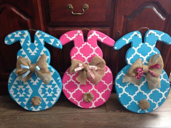 Easter Bunny Door Hanger by DesignsbyAlanaArt on Etsy