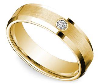 Inset Beveled Men's Wedding Ring in Yellow Gold (6mm)