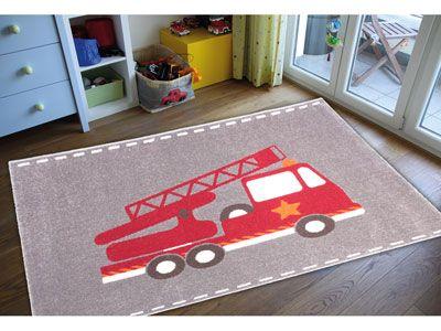 Tapis motif pompier 50€, coloris rouge et gris - 150x100 cm - POMPIER coloris rouge - Tapis - 537130
