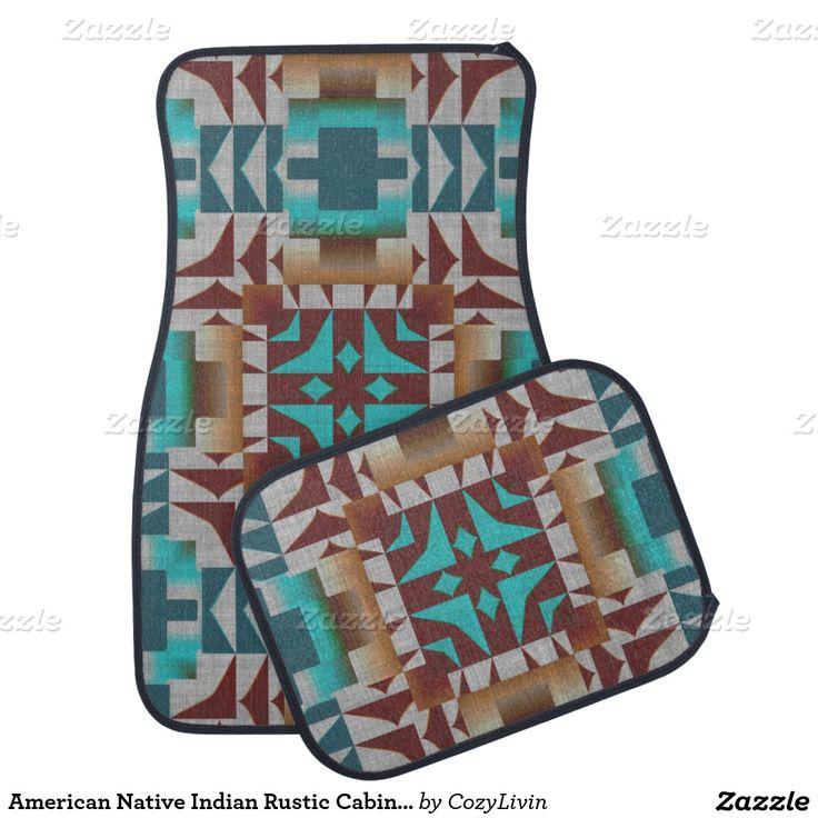 American Native Indian Rustic Cabin Mosaic Pattern Floor Mat,Artwork designed by Cozy Livin Designs
