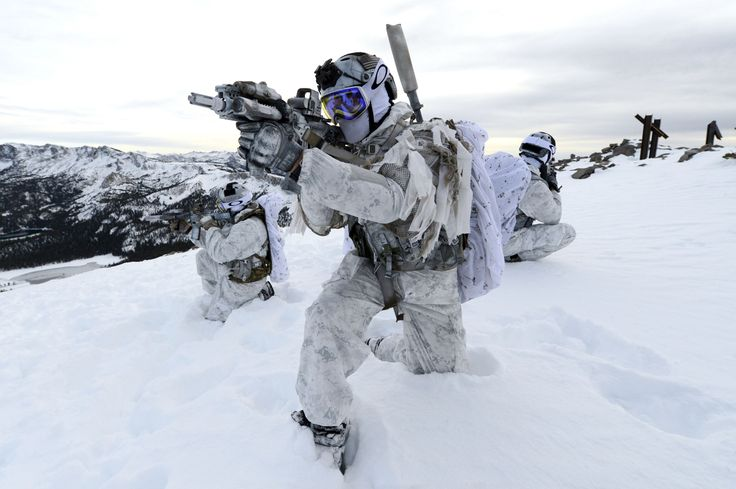 US Navy SEAL's from the Naval Special Warfare Community demonstrate winter warfare capabilities