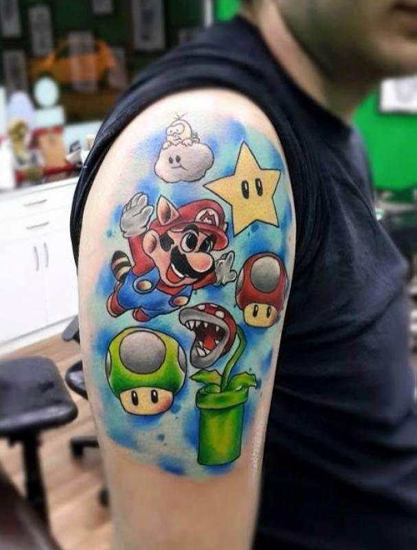 best 25 super mario tattoo ideas on pinterest nintendo characters mario tattoo and super. Black Bedroom Furniture Sets. Home Design Ideas