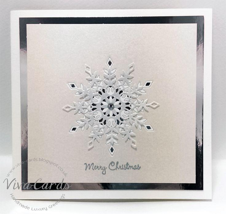 Handmade Card - Snowflake 1  #Silver, #Diamantes, #Snowflakes, #SimonSaysStamp, #Elise