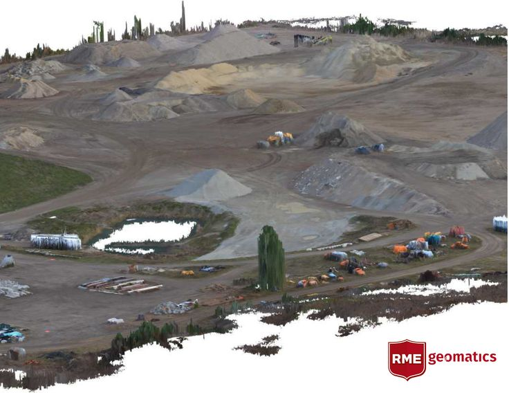 Images draped over LiDAR of an aggregate pit